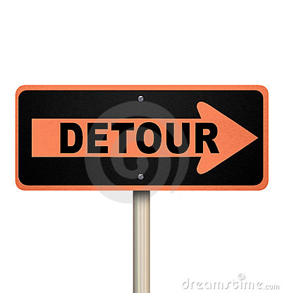 Detour Road Sign - Isolated