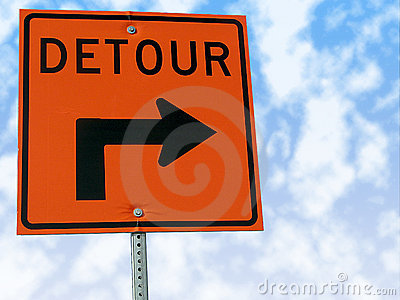 Detour traffic sign.