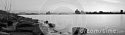 Detroit Michigan and Windsor Ontario Skyline