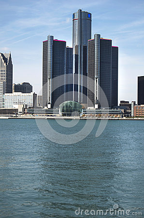 Detroit Skyline Detroit River Forground