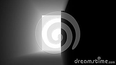 Deur die voor helder wit licht openen royalty-vrije illustratie