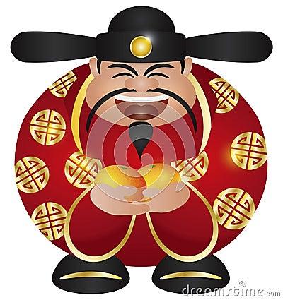 Deus chinês do dinheiro da prosperidade com laranjas