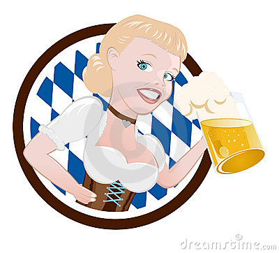 Deutsche Frau mit Bier