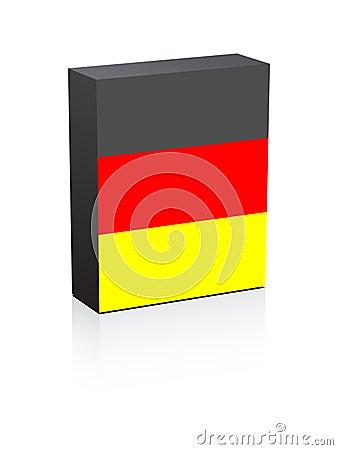 Deutsche Markierungsfahne auf Kasten