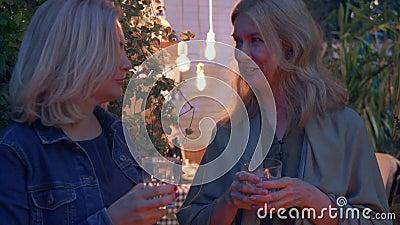 Deux femmes blondes matures discutant et buvant de l'alcool Voisins en soirée d'été Concept d'amitié clips vidéos