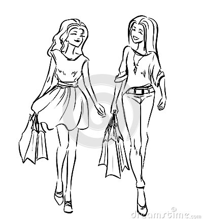 dessin deux filles tiennent main