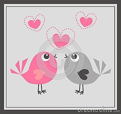 Deux oiseaux mignons dans l amour