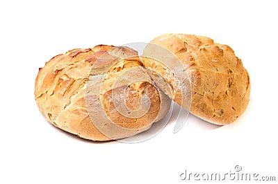 Deux pains ronds de pain de blé blanc