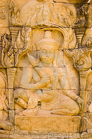 Deva che intaglia, Angkor Thom, Cambogia