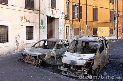 Devastation of cars in Rome Editorial Stock Image