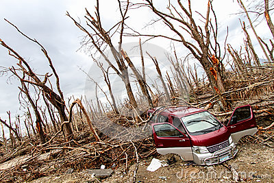 Devastation after typhoon Haiyan Editorial Photography