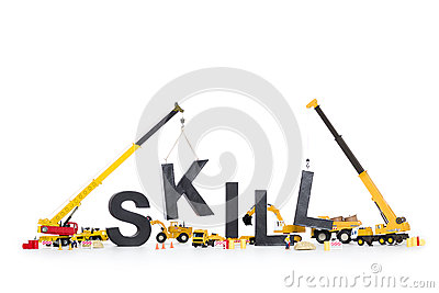 Developing skills: Machines building skill-word.