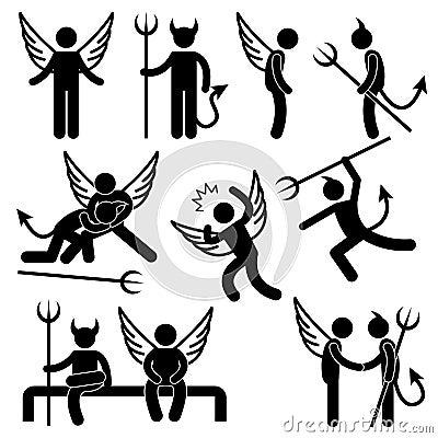 Devil Angel Friend Enemy Symbol Pictogram