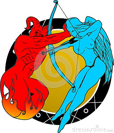 Devil and angels fight