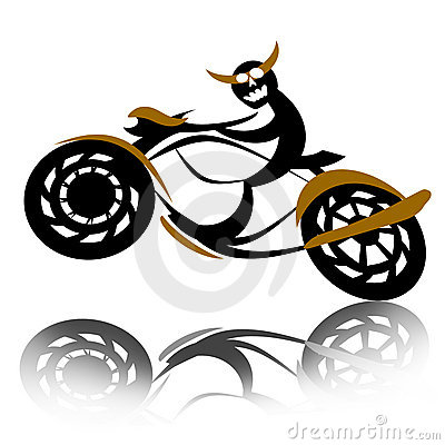 Devil biker on motorcycle