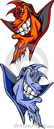 Devil / Blue Demon Mascot Vector Logos