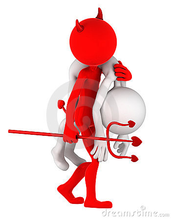 Devil carrying businessman on shoulder