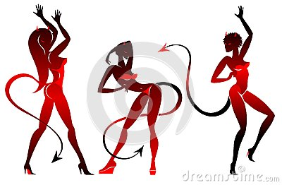 Devil dancing girls silhouettes set
