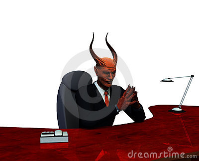Devil or devious business man isolated