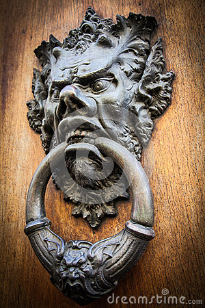 Free Devil Head Door Knocker Royalty Free Stock Image - 26012716