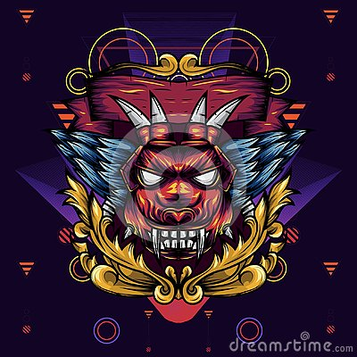 Free Devil Head Geometry Ornamental Is An Illustration Of A Devil`s Head With Sharp Fangs And Wings Stock Image - 144717291