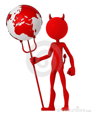 Devil hold earth globe
