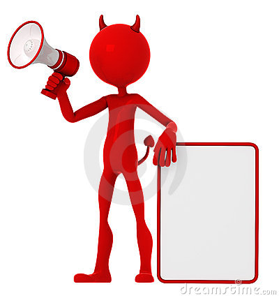 Devil holding a blank sign