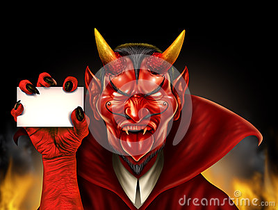 Devil Holding Sign