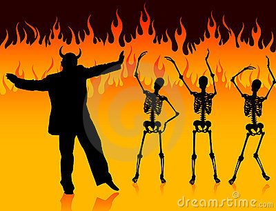 Devil man dancing in hell with fire and skeletons