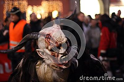 Devil Mask from Perchtenlauf, Graz Editorial Photo