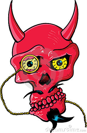 Free Devil Skull With Horns And Glass Eye Piece Stock Photo - 9904280