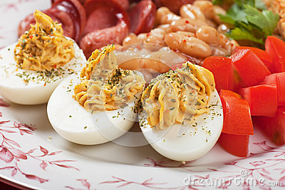 Deviled eggs with beans
