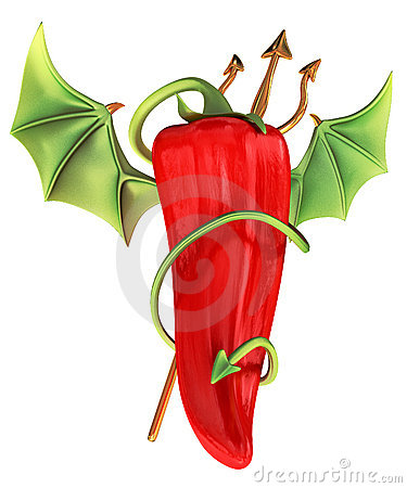 Devilish red chili pepper