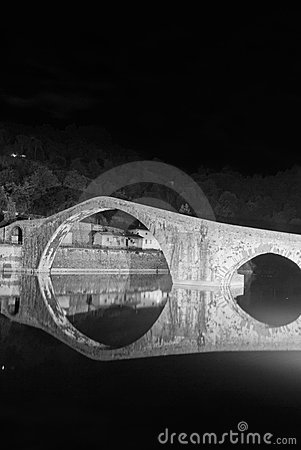 Devils Bridge at Night in Lucca, Italy