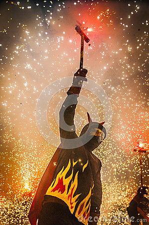 Free Devils Dance Group On Correfoc Perfo Royalty Free Stock Photos - 26683548