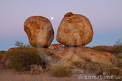Devils Marbles and moon