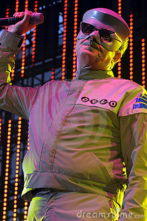 Devo performing live. Editorial Image