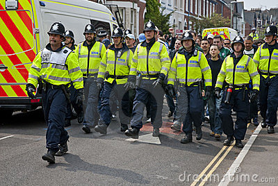Devon and Cornwall Police escort football fans Editorial Photography