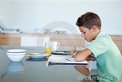 Devoted young boy doing his homework