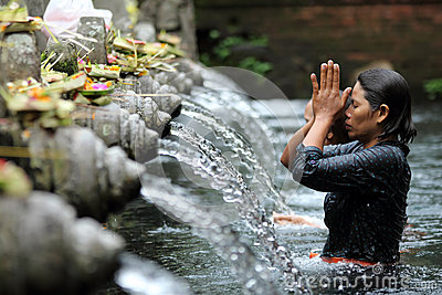 Ritual Bathing at Puru Tirtha Empul, Bali Editorial Photography