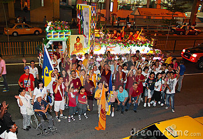 Devotee group photoshot at Wesak Procession 2011 Editorial Photography