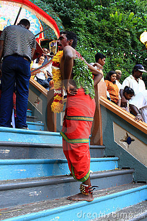 A devotee in the Hindu festival of Thaipusam. Editorial Stock Photo