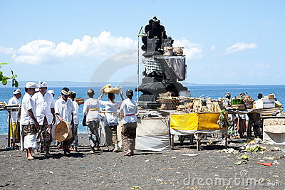 Devotees attending their Balinese ritual Editorial Photography
