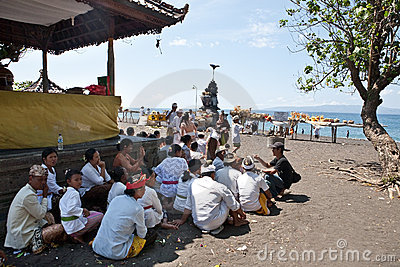 Devotees on their way to Balinese ritual Editorial Stock Photo