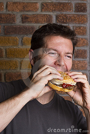 Devouring a Hamburger for Lunch