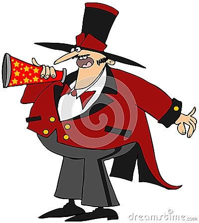 Circusdirecteur met een megafoon
