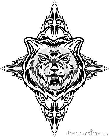 tatuaje sobre lobo. Foto de archivo libre de regalías: Dezign del tatuaje del lobo