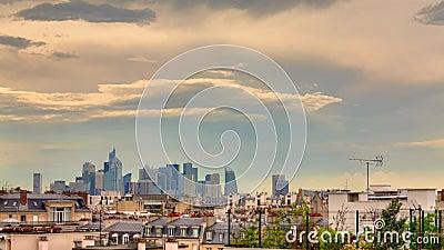 Dfense Ла, Париж, здание, облако, промежуток времени сток-видео
