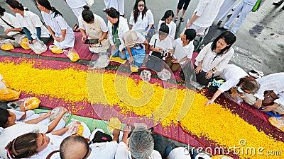 Dhammachai Dhutanga Pilgrimage Walk, 2013 in Bangkok Editorial Image