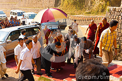 Dharamsala Dalai Lama Surrounded Entourage Editorial Stock Photo